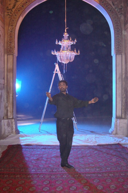 Lollywood choreographer Pappoo Samrat, on location at Lahore Fort, during the shoot of ZILL E SHAH.