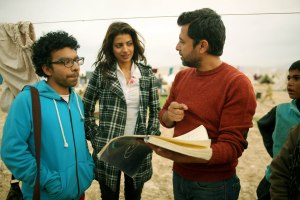 Rabia Butt with director Farouq Mengal on the sets of HIJRAT